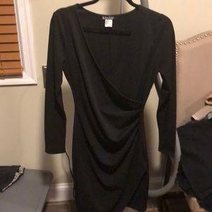 Sz S Venus black faux wrap rouched dress